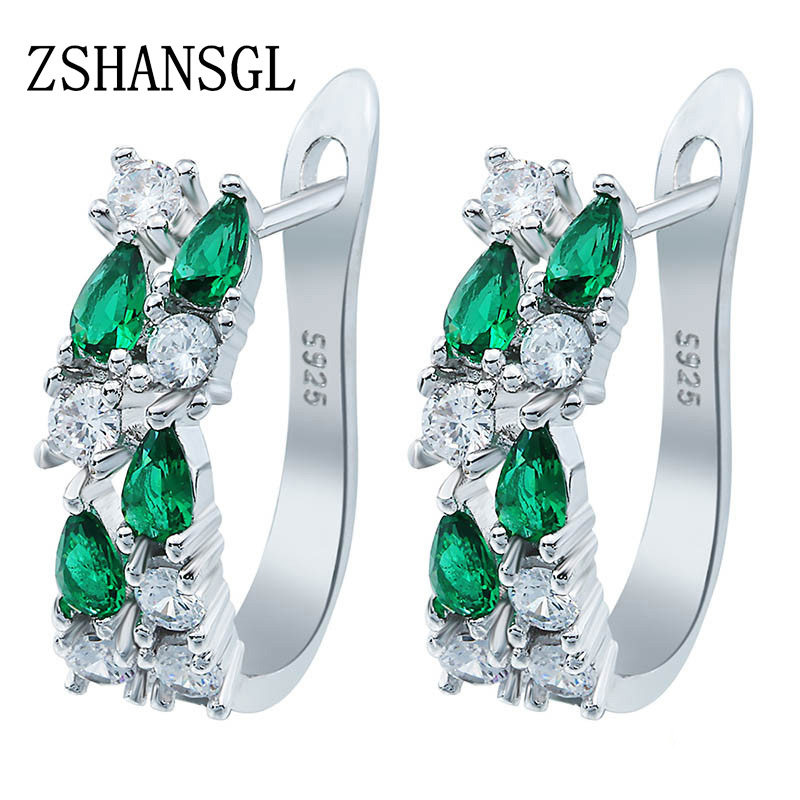 Wholesale Luxury 925 Sterling Sliver Stud Earrings Flash CZ Zircon Ear Studs 3 Colors Earrings For Women Cheap brincos(China)