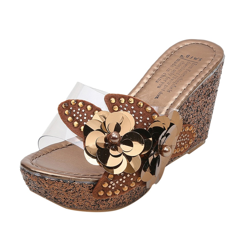 SAGACE Sandals Wedges Beach-Shoes Rhinestone Sequins Floral Roman Casual Fashion Summer title=