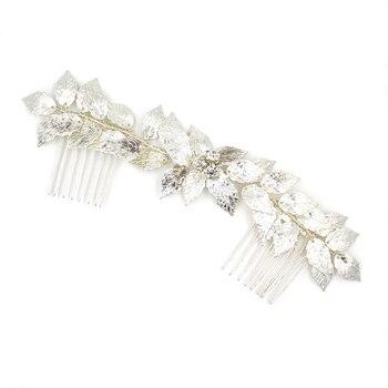 Peineta SLBRIDAL estilo barroco con cable de diamantes de imitación de cristal perlas hojas boda peineta para novia accesorios para el cabello damas de honor