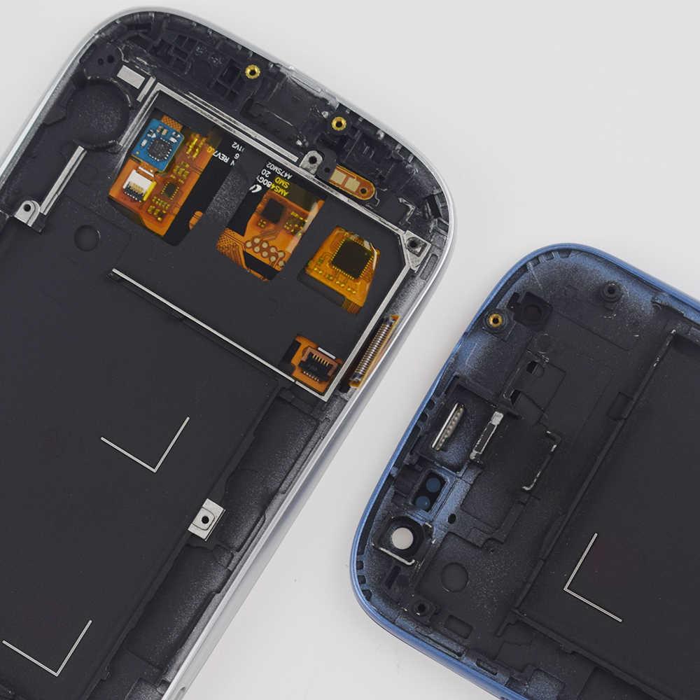 I9300 عرض لسامسونج غالاكسي S3 LCD مجموعة المحولات الرقمية لشاشة تعمل بلمس إطار لسامسونج غالاكسي S3 عرض شاشة I9300 شاشة