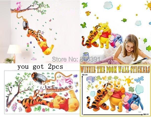 [ in stock]- 1 Bear andFriends+1 Bear tige piglet swing Wall Sticker Kids Nursery Bedroom Decor Decal Reusable,2pcs per set