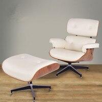 現代クラシッククルミ合板ラウンジチェア&オットマンスツール付きホワイトプレミアムハイグレードpuレザー長椅子ラウンジチェア回転椅
