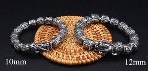 Image 4 - 100% Серебряный Тибетский браслет из бусин с шестью словами, счастливый женский браслет на удачу, браслет из бисера Pixiu
