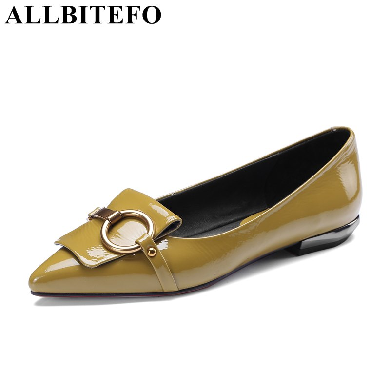 ALLBITEFO large size:34-42 genuine leather pointed toe low-heeled office ladies high heels women pumps girls high heel shoes large size 42 rhinestone shoes women low heel pumps pointed toe genuine leather shoes women high heels mary janes ladies shoes
