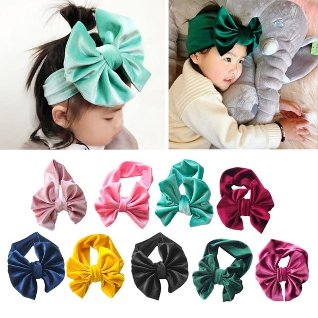 Kids Velvet Floppy Bows Turban Headband Baby Twisted Knot Big Bow Headbands  FR024 99d1ee413fa