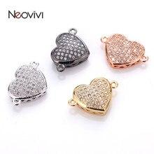 Neovivi подвески в форме сердца, белый циркон, черный/золотой/розовое золото/серебристый цвета, бусины-разделители для Ювелирные изделия, изготовление браслетов, соединители