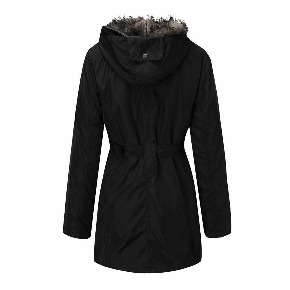 毛深いインナー胆嚢女性ウインドブレーカーロングジャケット 3 摩耗肥厚綿コートの女性の毛皮裏地コート冬暖かい厚手のフード付き