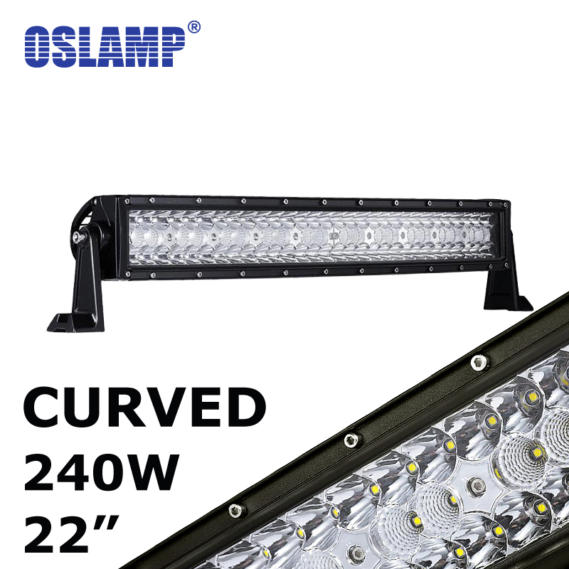 Oslamp 240W 22inch Curved LED Work Light Bar Triple Row CREE Chips 12V 24V Led Auto Lamp for Car SUV ATV RZR UTE Curved Led Bar compatible bare bulb lv lp17 9015a001 for canon lv 7555 projector lamp bulb without housing