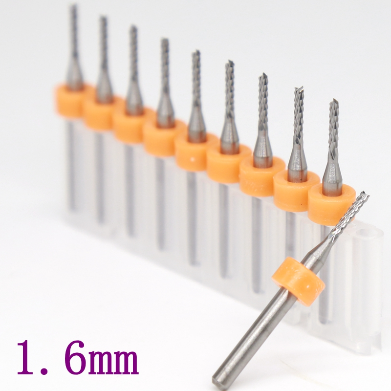 10pcs 1.75mm Tip 3mm Shank Helical Groove Tungsten Carbide Micro PCB Drill Bits