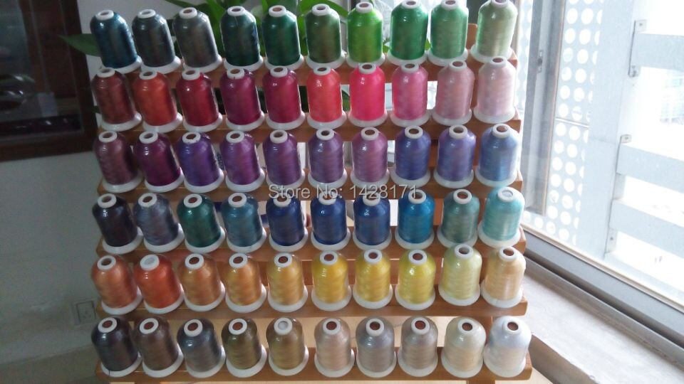 Free shipping high quality 61 Brother colors machine polyester embroidery thread+1000m/mini king spool + 15pcs A plastic bobbin-in Thread from Home & Garden    1
