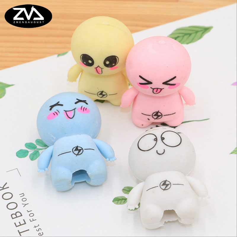 4pcs/bag Super Cute Cartoon Big Head Doll Eraser Children Learning Stationery Kawaii School Supplies Papelaria Gift For Kids