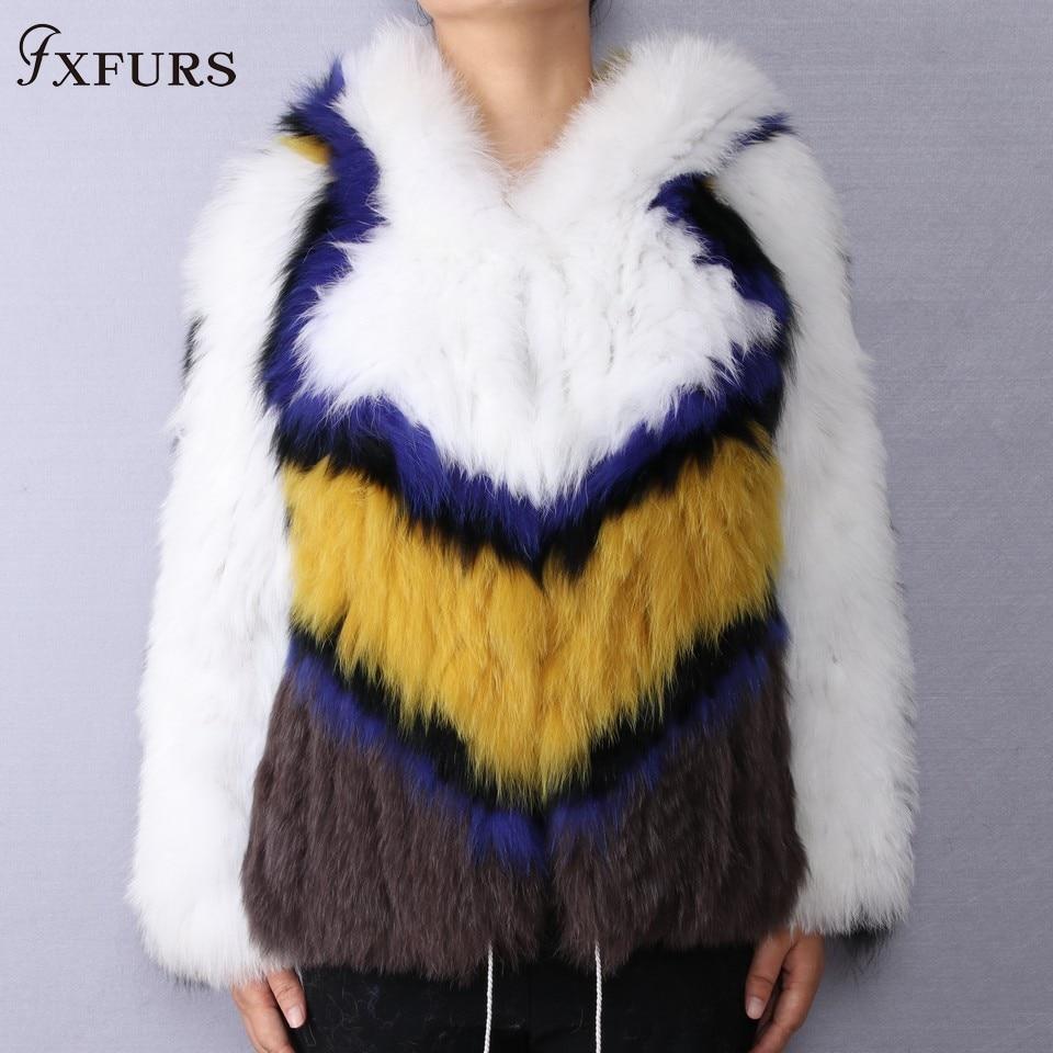Tricoté Vestes Véritable Couleurs Capuche 2 Mode Color color Manteau Femmes 1 2019 Fourrure Patchwork 3 Fxfurs Renard Chaud De Avec Hiver color PqF7Zgw