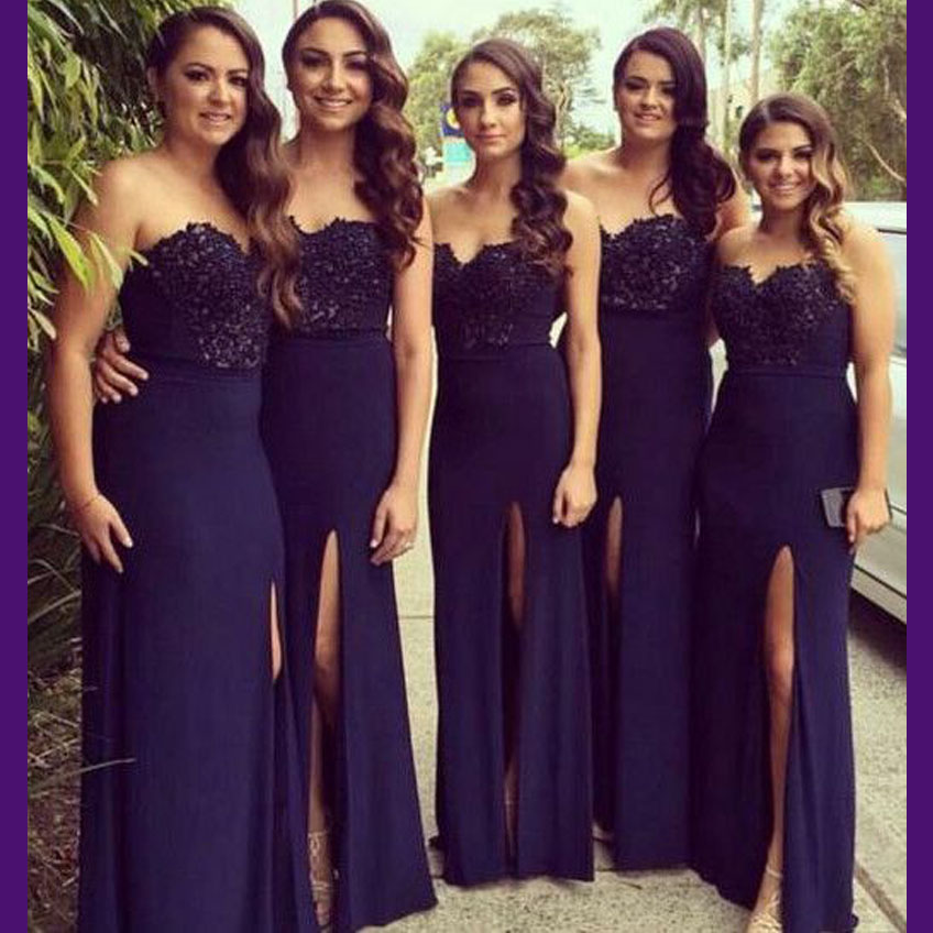 Elegent Dark Purple Bridesmaid Dress Lace High Side Split Women ...