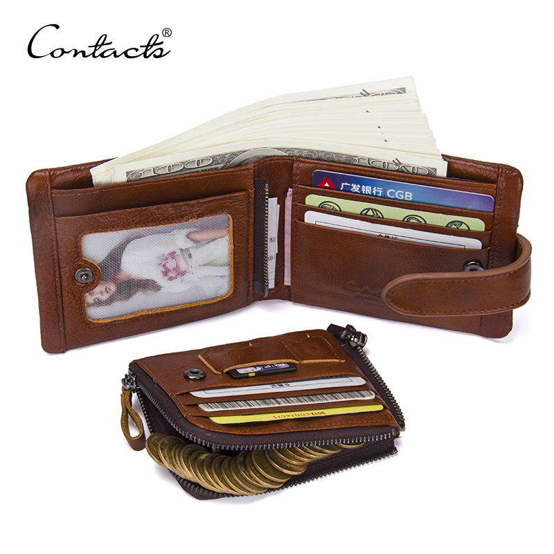 CONTACT'S Classical Men Wallets Genuine Leather Short Wallet Fashion Zipper Brand Purse Card Holder Wallet Man With Coin Bag 2017 new cowhide genuine leather men wallets fashion purse with card holder hight quality vintage short wallet clutch wrist bag