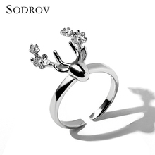 Cute Simple New 925 Sterling Silver Christmas Deer Animal Open Finger Rings for Women Jewelry R021