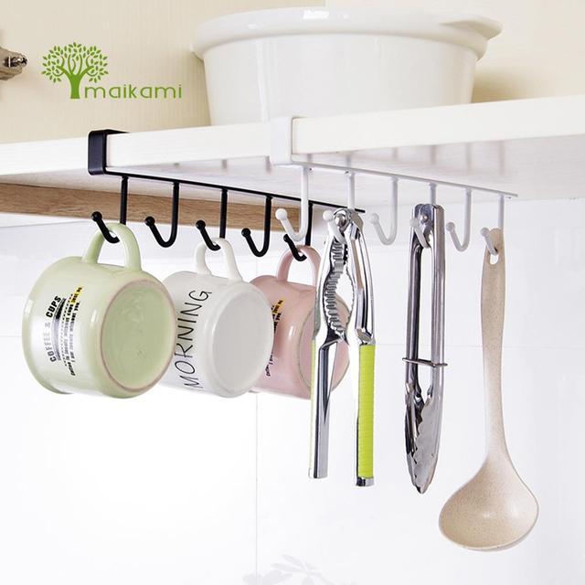 kitchen hooks table stools creative iron cabinet wardrobe hangers free nail storage rack with 6