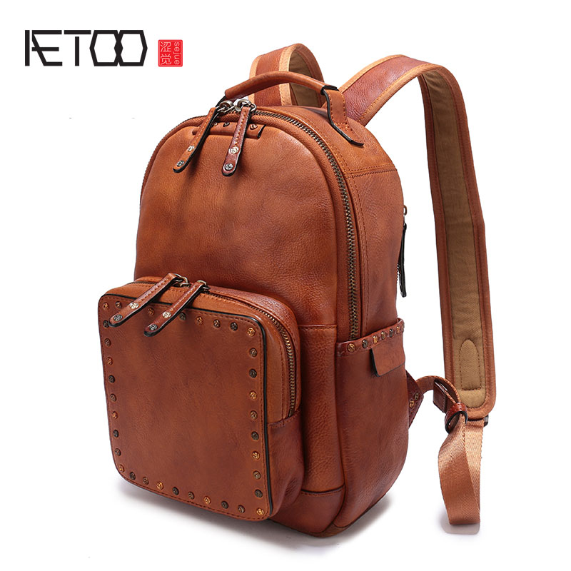 AETOO The first layer of leather rivet shoulder bag 2017 new casual wild leather backpack large volume female book bag tide aetoo first layer of leather shoulder bag female bag korean version of the school wind simple wild casual elephant pattern durab