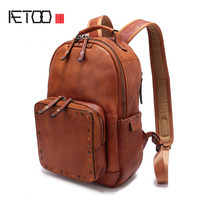 AETOO The First Layer Of Leather Rivet Shoulder Bag 2017 New Casual Wild Leather Backpack Large