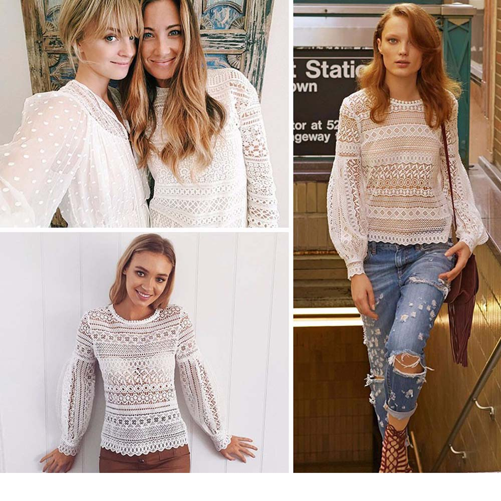 VESTLINDA Sexy Lace Hollow Out Blouse Shirt Women Blusas Feminina 2017 O Neck Lantern Sleeve Blusa Ladies Elegant Lace Blouse 10