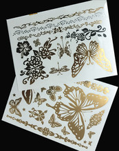 1sheet Silver Gold Temporary Tattoo Metal Tribal Golden Tattoos Jewelry Flash Henna Metallic Sticker On Body Hand Women