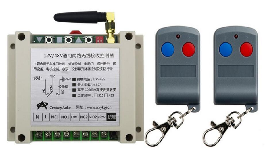 Última DC12V 24 V 36 V 48 V 10A 2CH RF Interruptor de Control Remoto sistema Tra