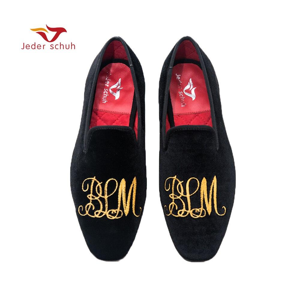 Jeder Schuh/Мужская обувь ручной работы, лоферы с золотыми буквами и вышивкой, дымчатые тапочки, обувь для свадьбы и банкета
