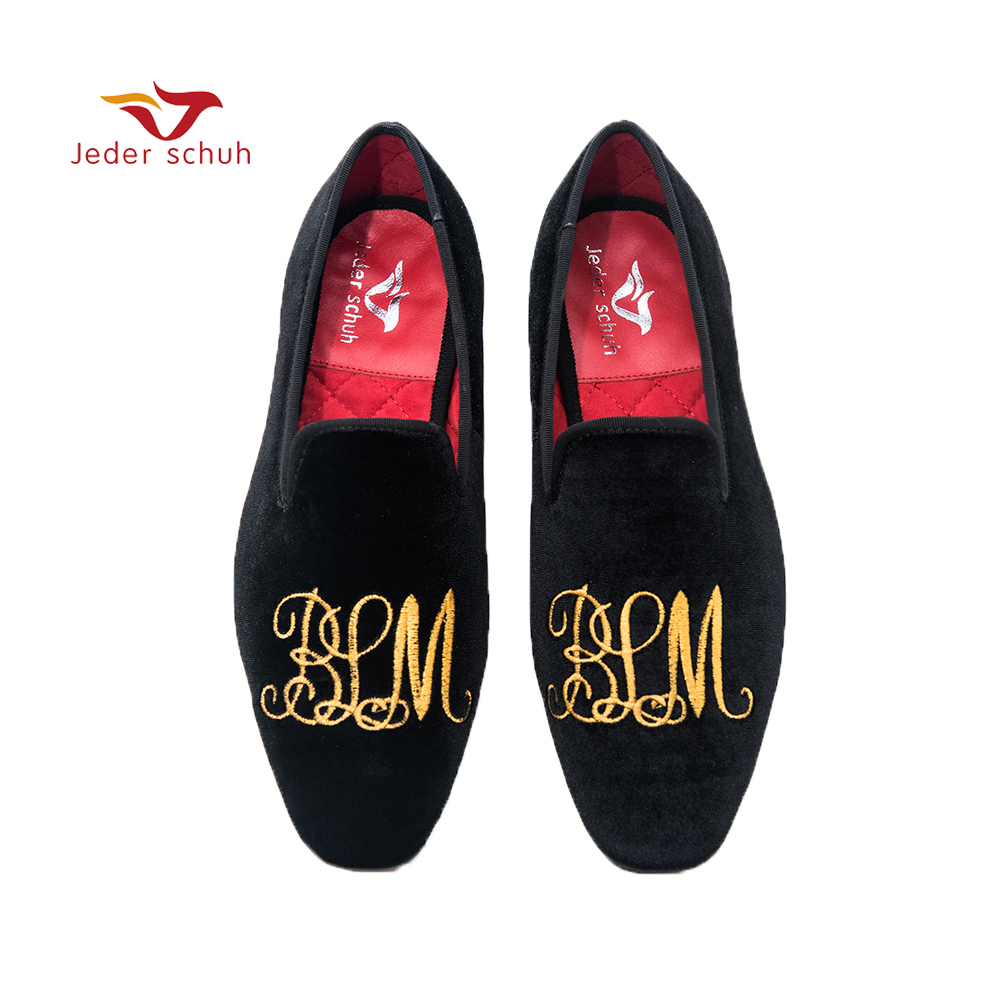 Jeder Schuh men shoes Handmade gold letter embroidery loafers smoked slippers wedding and banquet shoesJeder Schuh men shoes Handmade gold letter embroidery loafers smoked slippers wedding and banquet shoes
