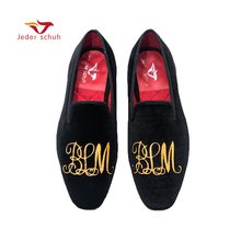 Jeder Schuh men shoes Handmade gold letter embroidery loafers smoked  slippers wedding and banquet shoes( 1c7a180e1daf