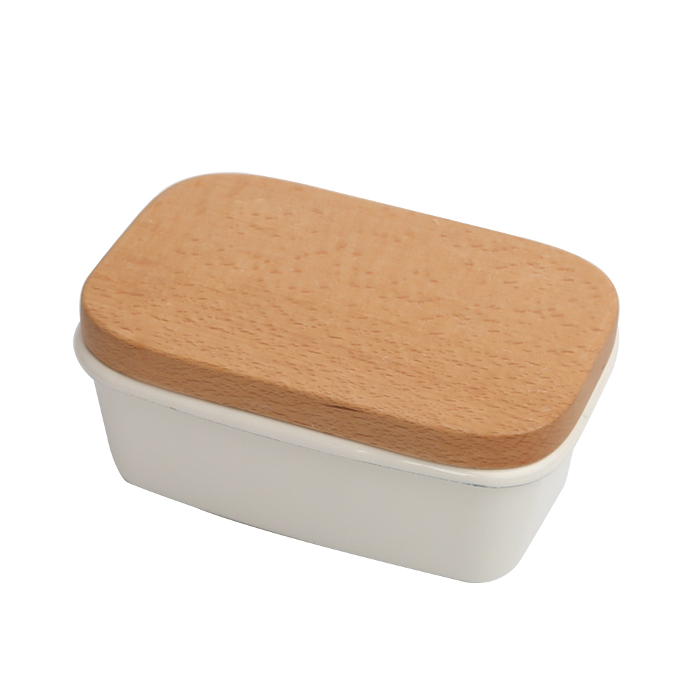 Large Butter Dish Cheese Plate with Wood Lid Cheese Container Server