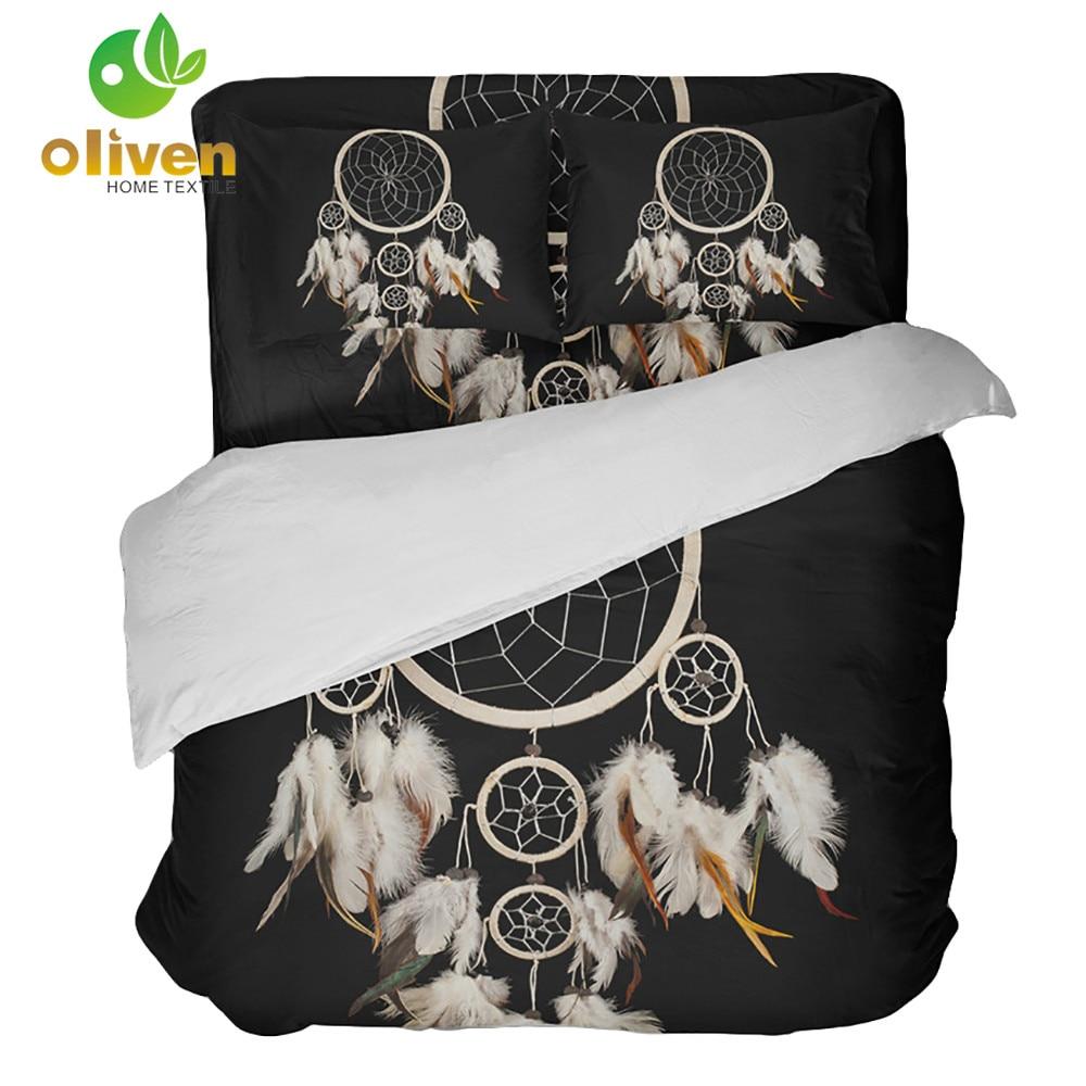 Boho Dream Catcher Bedding Set Black Dreamcatcher Duvet Cover Set Feather Printed Bedding Cover King Queen Pillowcase B30