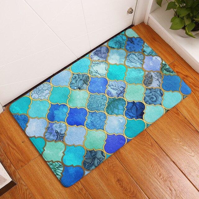 mdct aqua blauw geometrische arts vloermatten gebied tapijt antislip interieur woonkamer bad hal floormats gebied tapijten