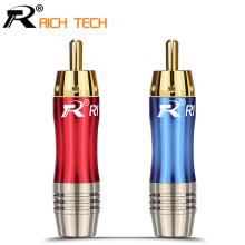 2pairs/4pcs  RCA Connector Wire male Plug gold plated audio adapter blue&red pigtail speaker plug for 8MM Cable