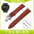 18mm pulseira de liberação rápida para huawei watch/fit honor s1 primeira camada de couro genuíno strap butterfly fecho banda de pulso pulseira