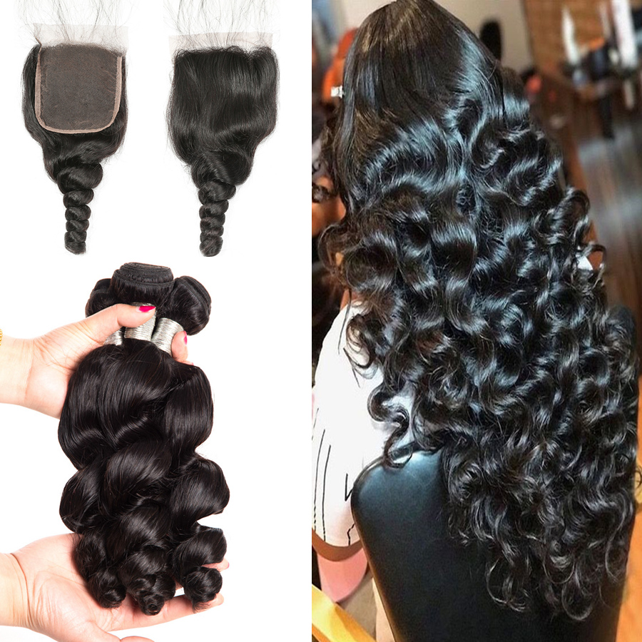 Loose Wave Bundles With Closure Brazilian Hair Weave Bundles With Closure RXY 100 Human Hair Closure
