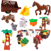 Animals Farm Horse Accessories Building Blocks Eduactional Toys for Children Compatible with Legoingly Duploe Parts Baby Toys(China)