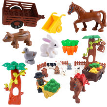 Diy Happy Animals Farm Horse Accessories Building Blocks Bricks Toys for Children Compatible Legoingly Duploe Parts Christmas(China)