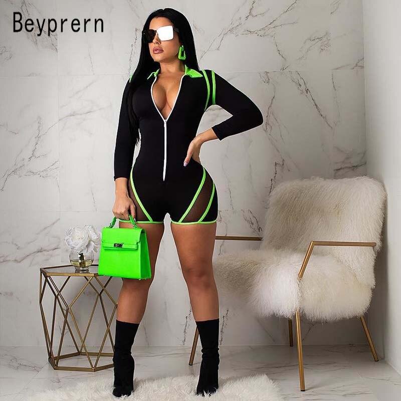 Женский комбинезон на молнии Beyprern, неоново-зеленый сетчатый комбинезон в полоску для тренировок, цельный короткий комбинезон размера плюс