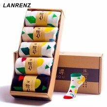 2017 Women's Socks Spring Socks Geometric Patterns Short Sleeves Socks Sugar Khan Breath Lovely Cotton Socks (5 Pairs / Lot)