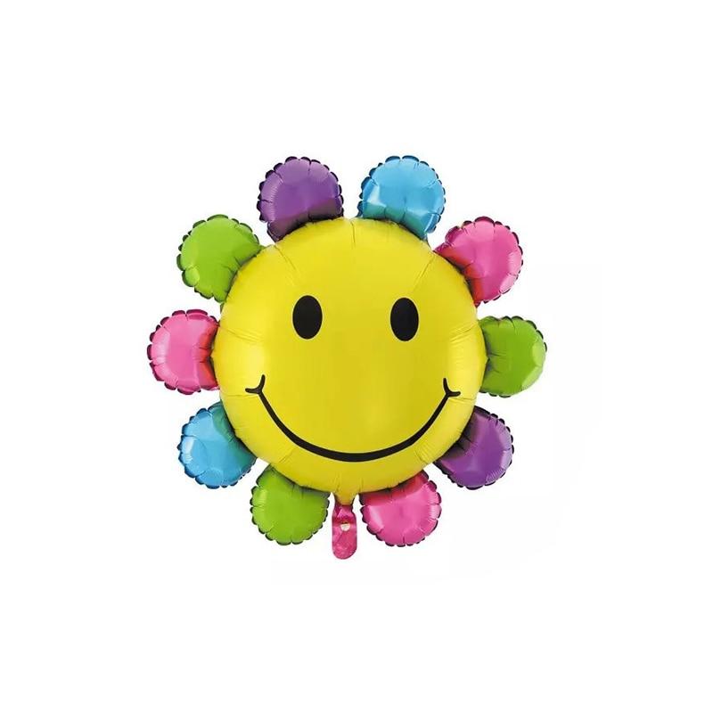 1 pcs Colorful Sunflower Balloon Smile Face Balloon Party Supplies Birthday Ball