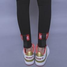 Fashion street HARAJUKU classic all match high waist behind applique letter ribbon female elastic legging