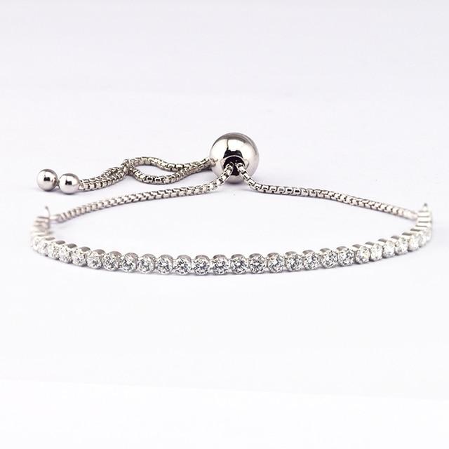 dc32533aa FANDOLA Sparkling Strand Bracelets & Bangles 925 Sterling Silver Clear CZ  Bracelets for Women Fine Jewelry
