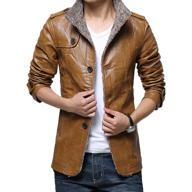 YG6150 Cheap wholesale 2017 new Locomotive male long leather jackets in male leather velvet thickening cultivate
