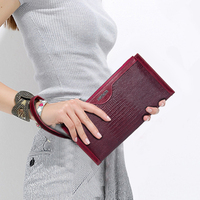 Contact S 2017 Brand Long Women Wallet Clutch Genuine Leather Slim Thin Coin Purse With Wristlet