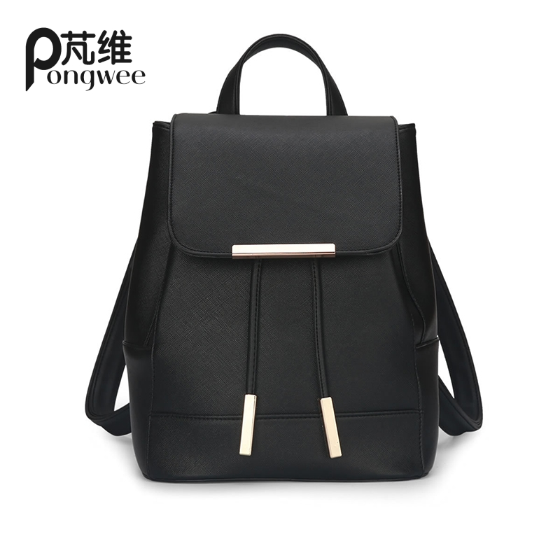 PONGWEE School Bags For Teenagers Girls Top-handle Hologram Backpack Women Backpack High Quality PU Leather Mochila Escolar women backpack high quality pu leather mochila escolar school bags for teenagers girls top handle large capacity student package