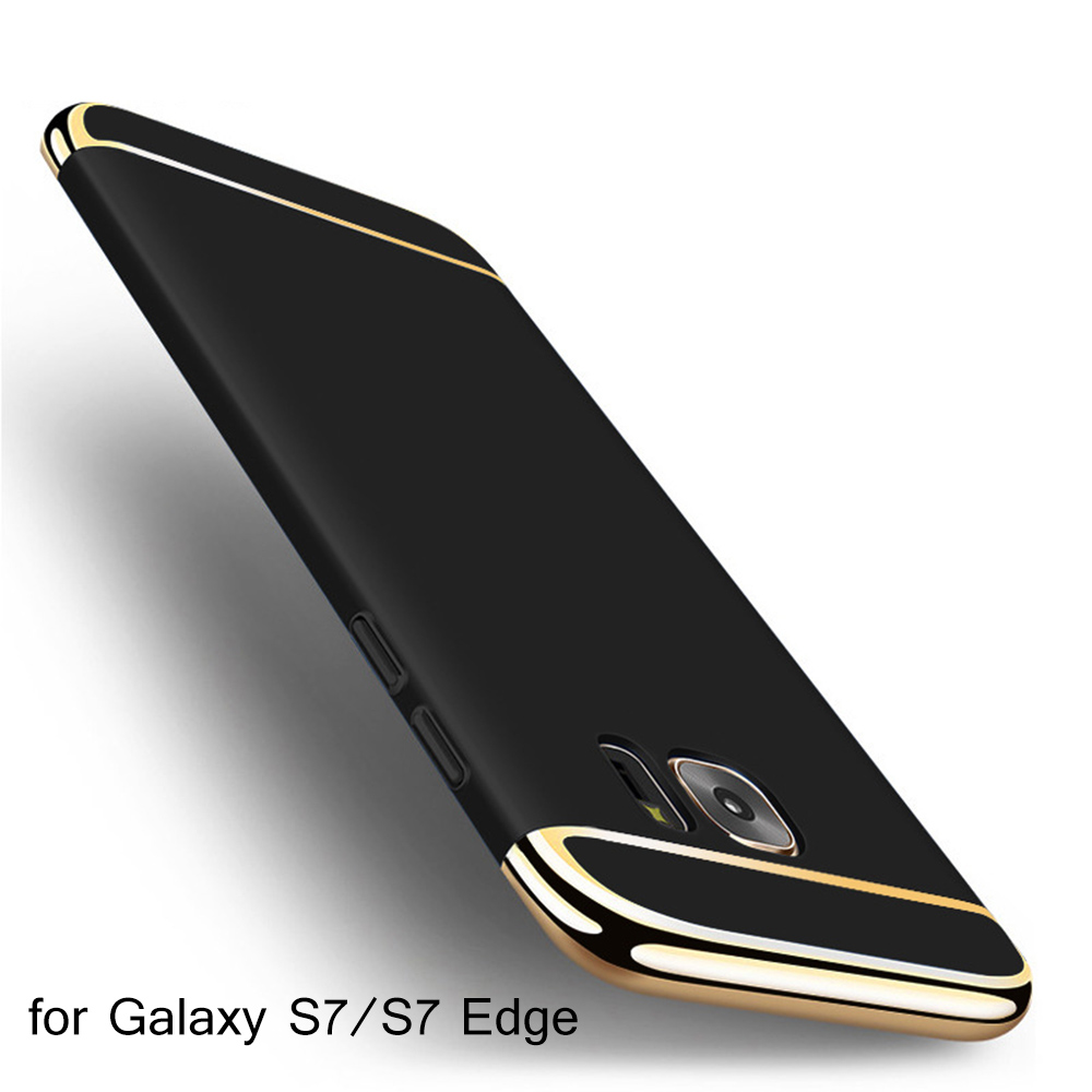 Case for SAMSUNG Galaxy S7 Edge S6 S8 plus Luxury Elegant Matte Phone Mobile Back Cover Black Gold Bumper Full Protective Coque