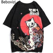 Bebovizi Japanese Streetwear Style Ukiyo E Cat Printed T-shirt Hip Hop Men Japan Harajuku Tshirt Casual Short Sleeve T Shirt