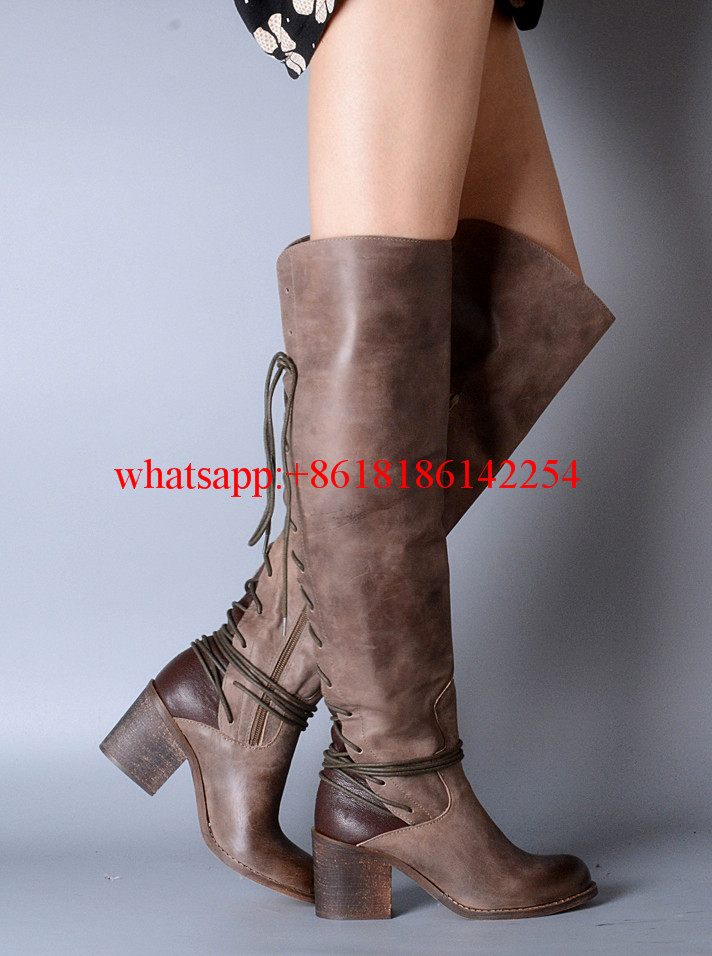 Brand New Winter Thick High-heeled Boots Women's Leather Knee high Boots Warm Cotton Strap Boots Side Zipper Botas Lace-up