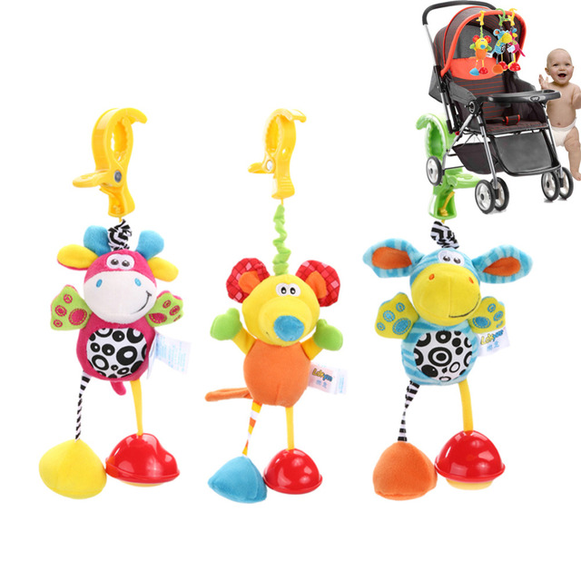Baby's Plush Animals Clip Rattles