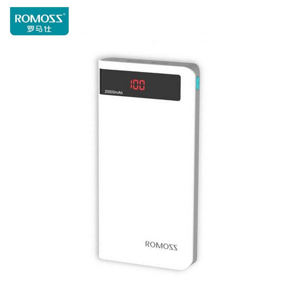 imágenes para Sentido ROMOSS 6 P 20000 mAh Batería Externa del Banco de Potencia Portátil con Pantalla LED Dual USB Cargador Rápido para iphone7 iphone7plus