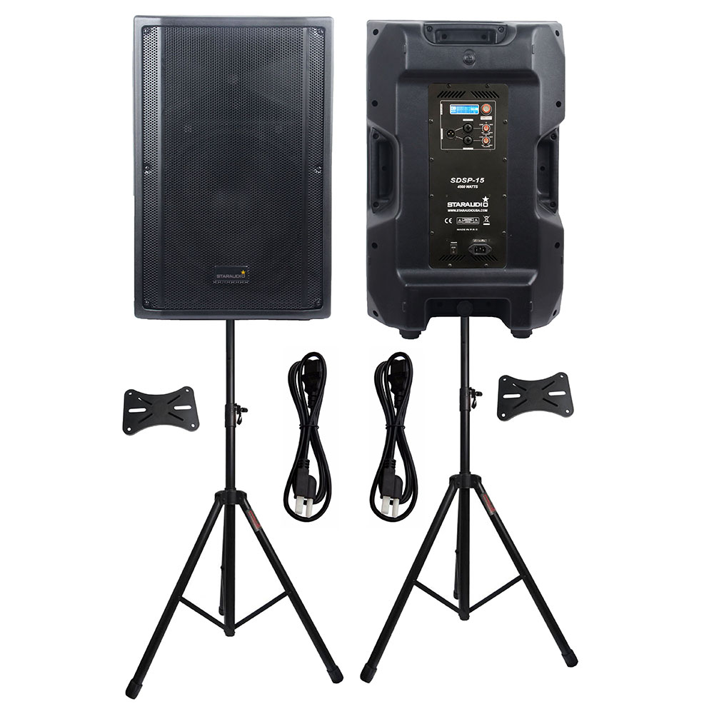 STARAUDIO 2Pcs 4500W Active 15 PA DJ Powered 4 Ohm DSP Party Speakers Stage KTV Karaoke Speakers Clubs Speaker Stands SDSP-15STARAUDIO 2Pcs 4500W Active 15 PA DJ Powered 4 Ohm DSP Party Speakers Stage KTV Karaoke Speakers Clubs Speaker Stands SDSP-15